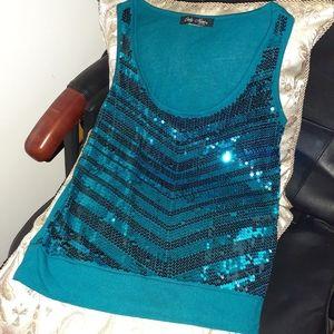 EUC^Teal sleeveless sequined top sz SP